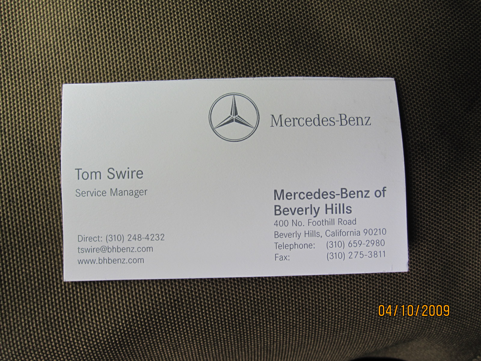 Inspirational images of mercedes benz business cards for Mercedes benz business card